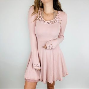 Free People thermal crochet lace long sleeve dress